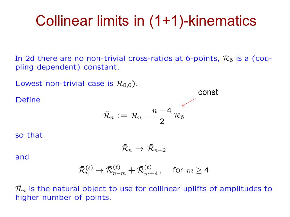 Collinear limits in (1+1)-kinematics const