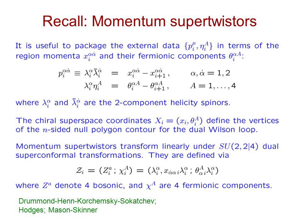 Recall: Momentum supertwistors Drummond-Henn-Korchemsky-Sokatchev; Hodges; Mason-Skinner