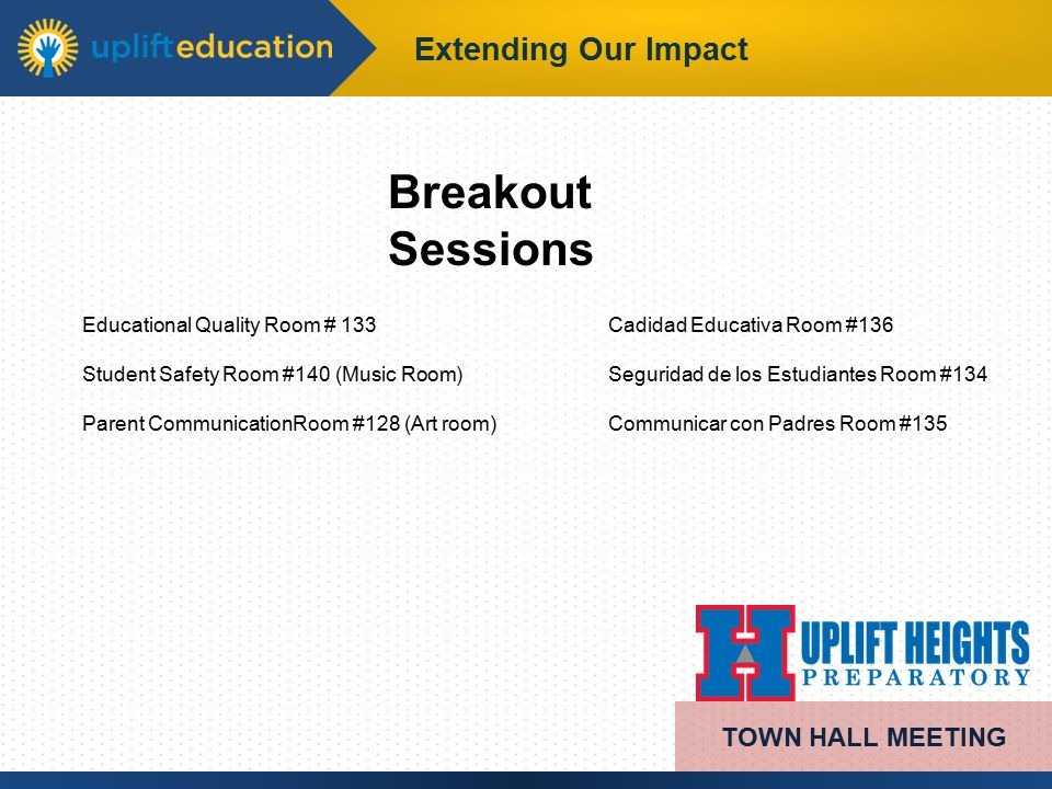 Extending Our Impact Breakout Sessions TOWN HALL MEETING Educational Quality Room # 133Cadidad Educativa Room #136 Student Safety Room #140 (Music Room)Seguridad de los Estudiantes Room #134 Parent CommunicationRoom #128 (Art room) Communicar con Padres Room #135