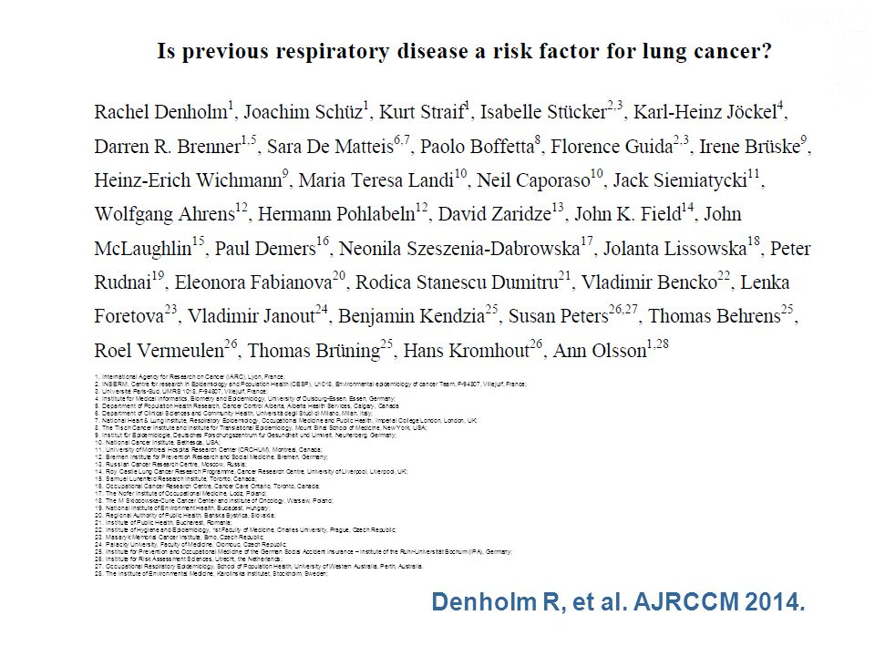 1. International Agency for Research on Cancer (IARC), Lyon, France; 2.
