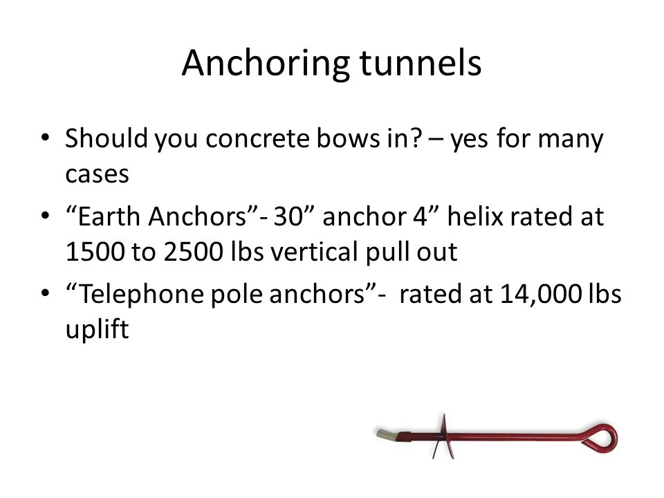 Anchoring tunnels Should you concrete bows in.