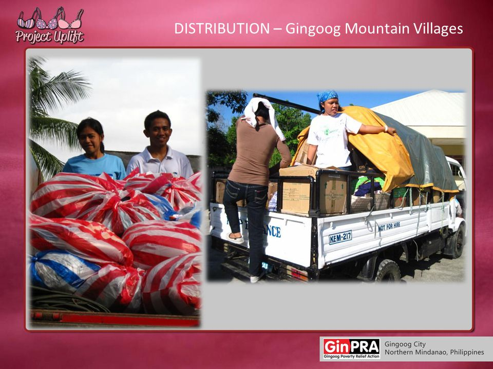 DISTRIBUTION – Gingoog Mountain Villages