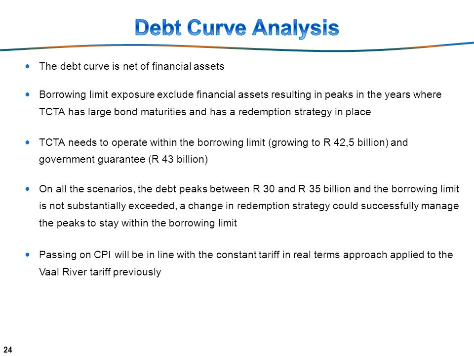 The debt curve is net of financial assets Borrowing limit exposure exclude financial assets resulting in peaks in the years where TCTA has large bond maturities and has a redemption strategy in place TCTA needs to operate within the borrowing limit (growing to R 42,5 billion) and government guarantee (R 43 billion) On all the scenarios, the debt peaks between R 30 and R 35 billion and the borrowing limit is not substantially exceeded, a change in redemption strategy could successfully manage the peaks to stay within the borrowing limit Passing on CPI will be in line with the constant tariff in real terms approach applied to the Vaal River tariff previously 24
