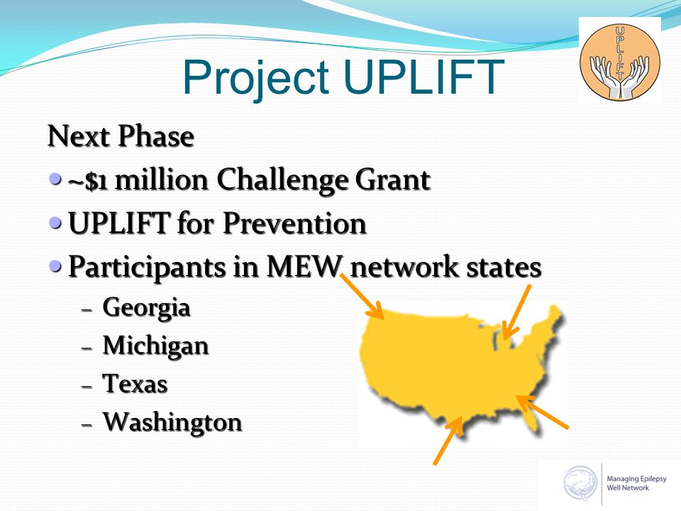 Project UPLIFT Next Phase ~$1 million Challenge Grant ~$1 million Challenge Grant UPLIFT for Prevention UPLIFT for Prevention Participants in MEW netw