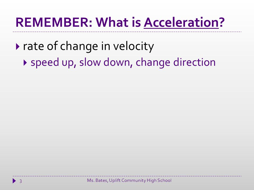 REMEMBER: What is Acceleration.
