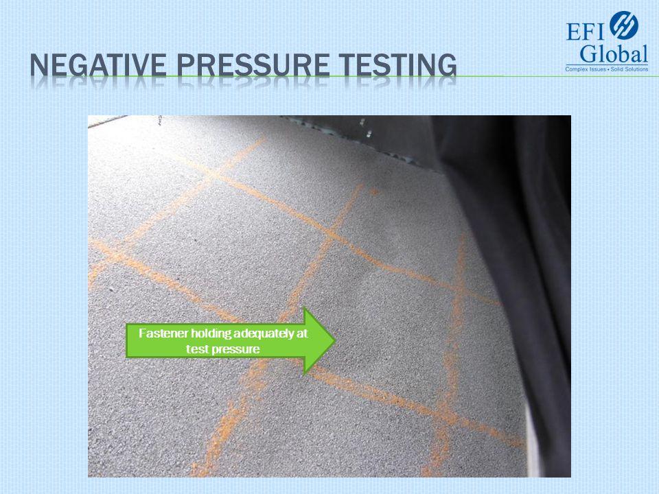 Fastener holding adequately at test pressure