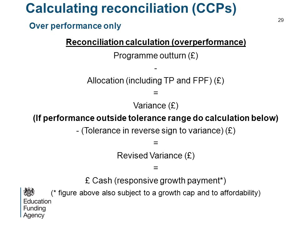 Calculating reconciliation (CCPs) Over performance only Reconciliation calculation (overperformance) Programme outturn (£) - Allocation (including TP
