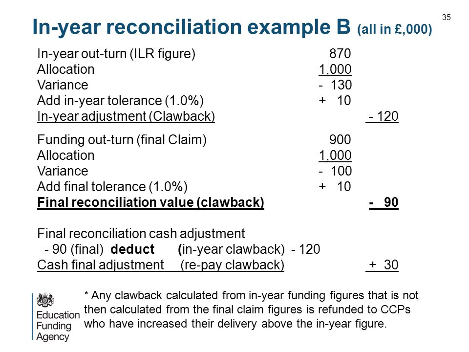 In-year reconciliation example B (all in £,000) In-year out-turn (ILR figure) 870 Allocation1,000 Variance- 130 Add in-year tolerance (1.0%)+ 10 In-ye
