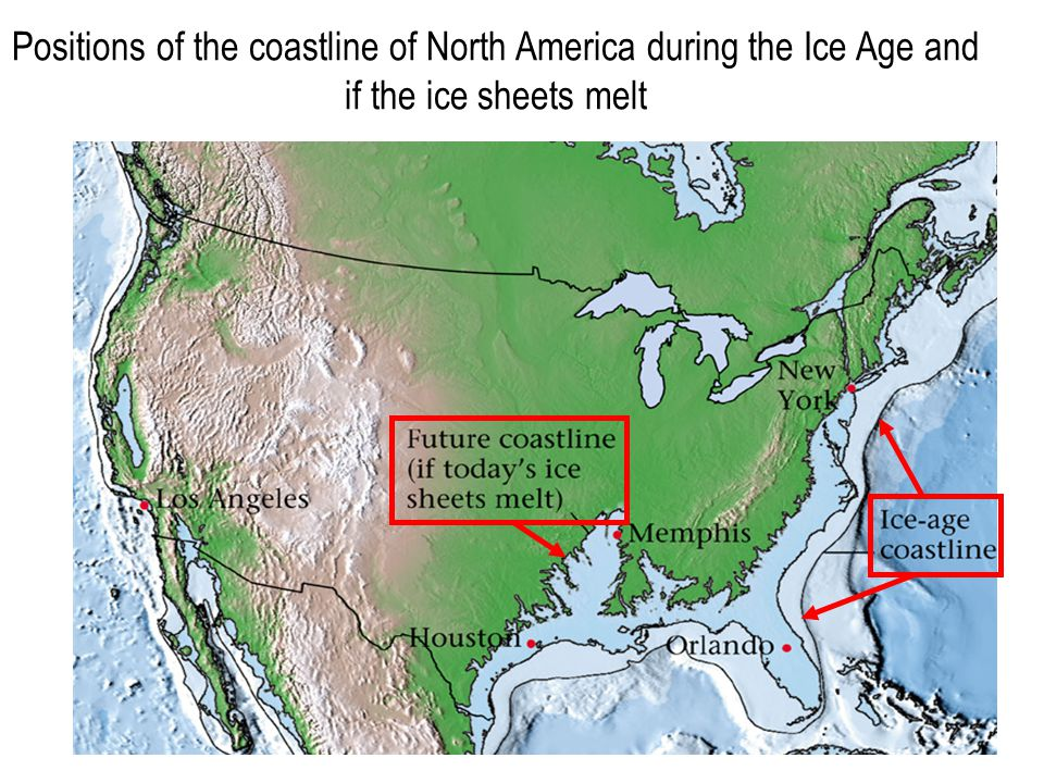 Positions of the coastline of North America during the Ice Age and if the ice sheets melt