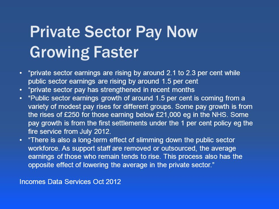 Private Sector Pay Now Growing Faster private sector earnings are rising by around 2.1 to 2.3 per cent while public sector earnings are rising by around 1.5 per cent private sector pay has strengthened in recent months Public sector earnings growth of around 1.5 per cent is coming from a variety of modest pay rises for different groups.