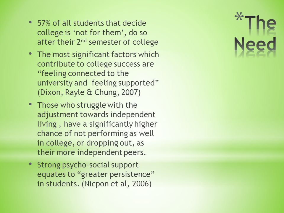 57% of all students that decide college is 'not for them', do so after their 2 nd semester of college The most significant factors which contribute to college success are feeling connected to the university and feeling supported (Dixon, Rayle & Chung, 2007) Those who struggle with the adjustment towards independent living, have a significantly higher chance of not performing as well in college, or dropping out, as their more independent peers.
