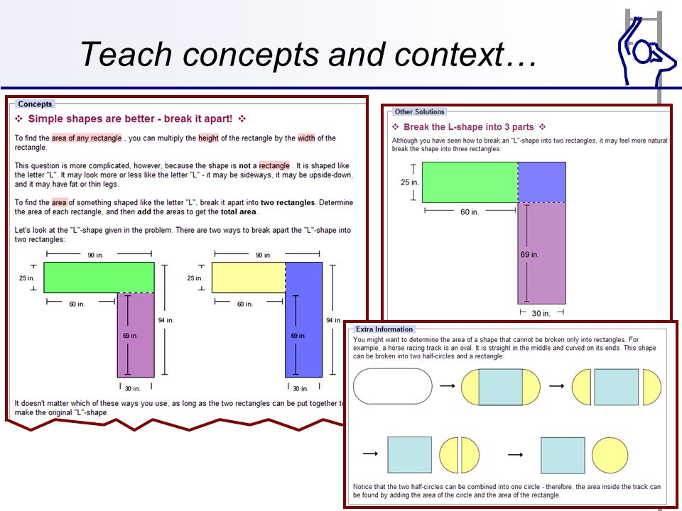 Teach concepts and context…