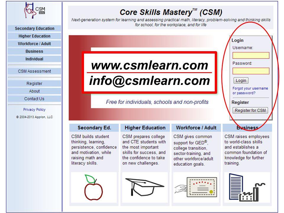 www.csmlearn.com info@csmlearn.com www.csmlearn.com info@csmlearn.com