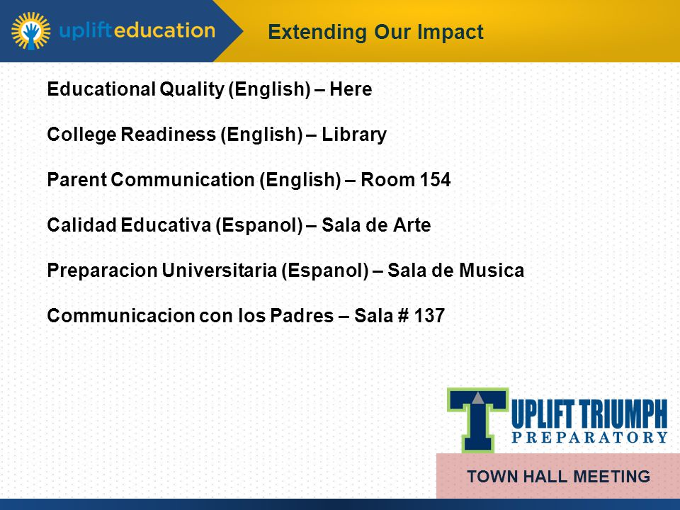 Extending Our Impact TOWN HALL MEETING Educational Quality (English) – Here College Readiness (English) – Library Parent Communication (English) – Roo