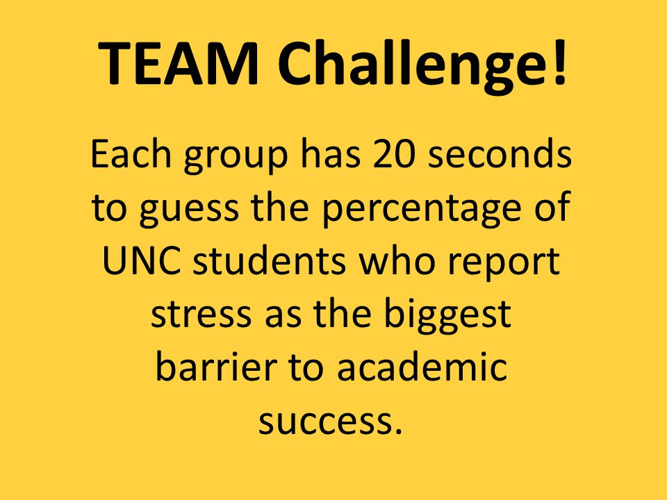 Each group has 20 seconds to guess the percentage of UNC students who report stress as the biggest barrier to academic success.