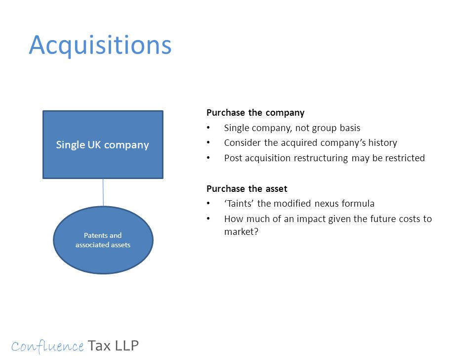 Acquisitions Purchase the company Single company, not group basis Consider the acquired company's history Post acquisition restructuring may be restri
