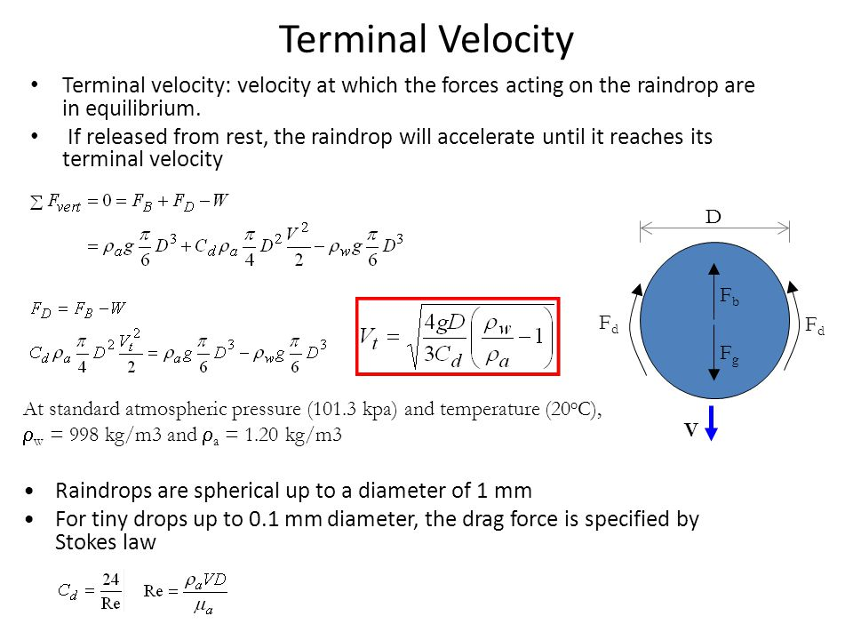 Terminal Velocity Terminal velocity: velocity at which the forces acting on the raindrop are in equilibrium.