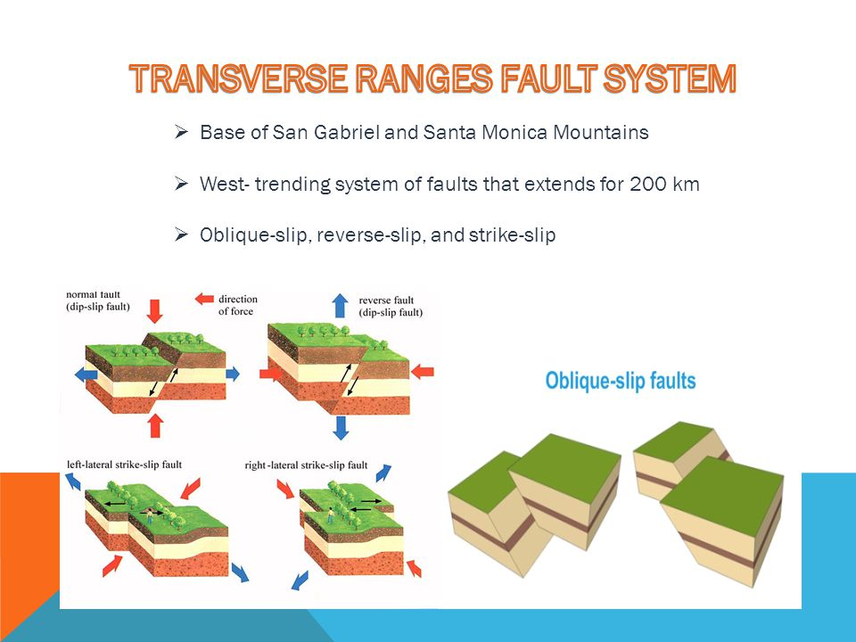  Base of San Gabriel and Santa Monica Mountains  West- trending system of faults that extends for 200 km  Oblique-slip, reverse-slip, and strike-sl