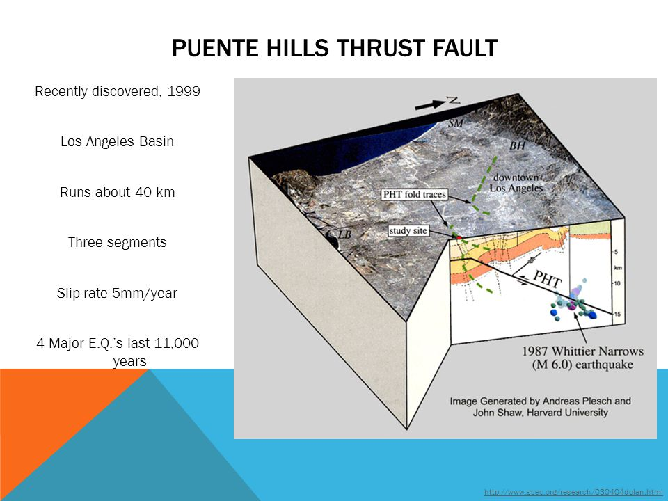 PUENTE HILLS THRUST FAULT Recently discovered, 1999 Los Angeles Basin Runs about 40 km Three segments Slip rate 5mm/year 4 Major E.Q.'s last 11,000 years http://www.scec.org/research/030404dolan.html