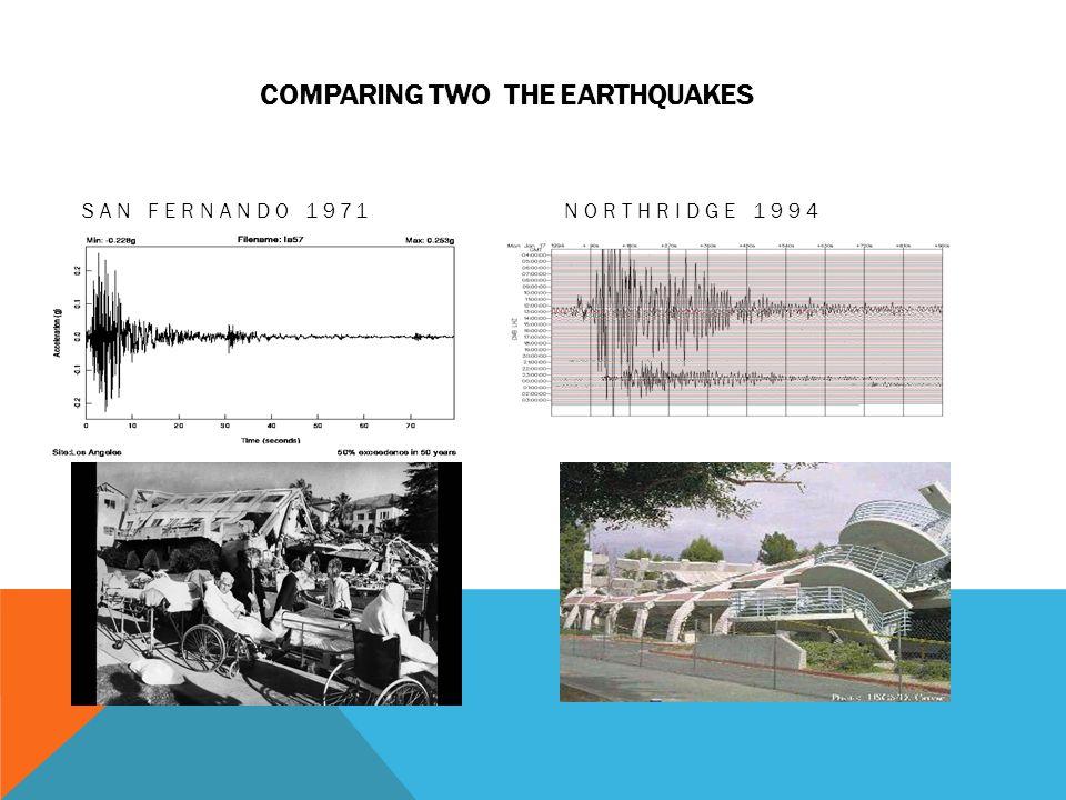 COMPARING TWO THE EARTHQUAKES SAN FERNANDO 1971NORTHRIDGE 1994