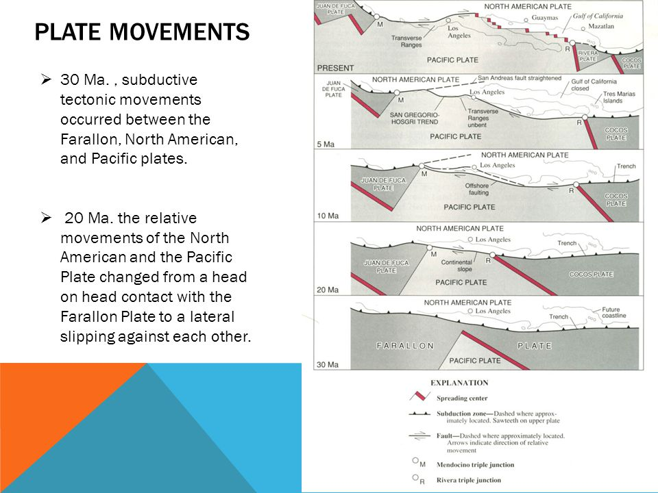 PLATE MOVEMENTS  30 Ma., subductive tectonic movements occurred between the Farallon, North American, and Pacific plates.  20 Ma. the relative movem
