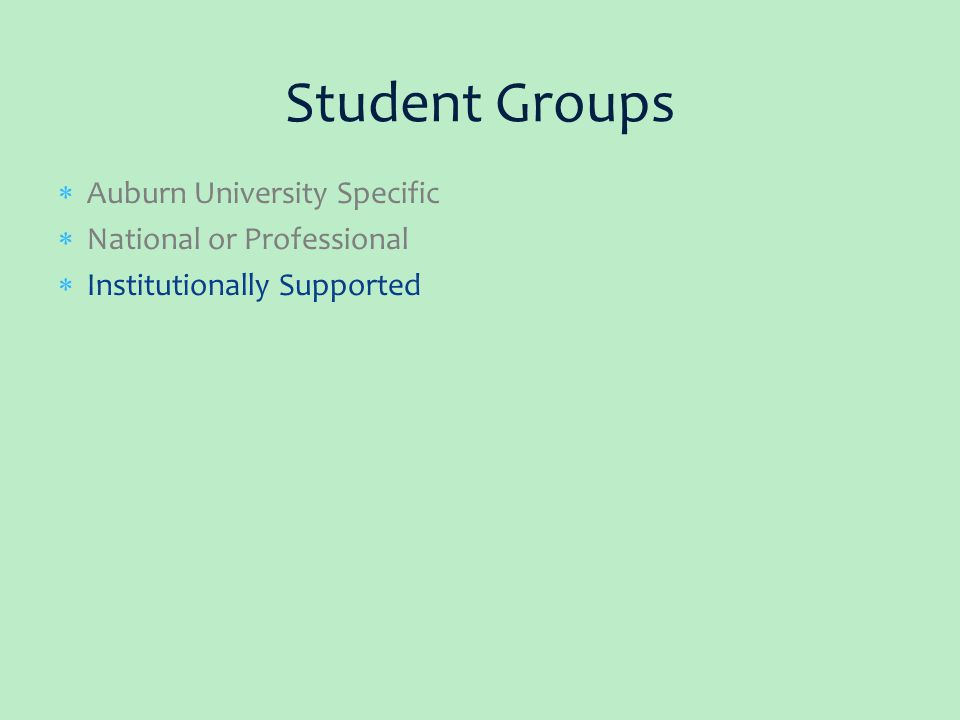  Auburn University Specific  National or Professional  Institutionally Supported Student Groups