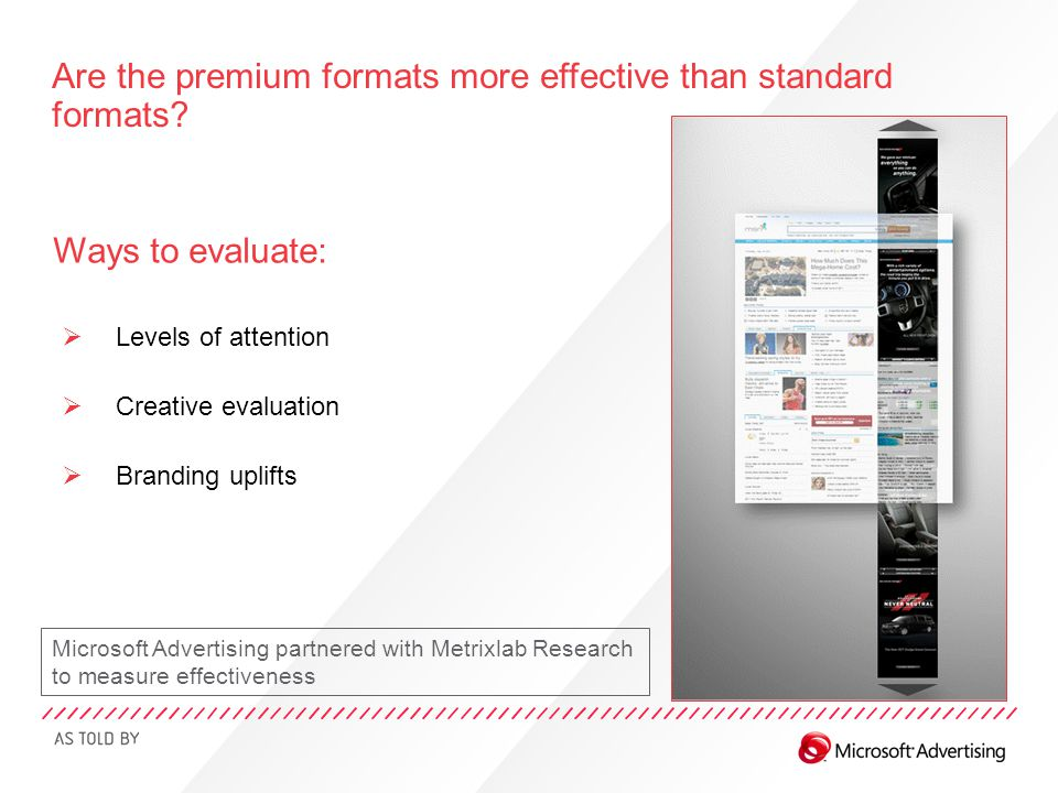 Ways to evaluate:  Levels of attention  Creative evaluation  Branding uplifts Are the premium formats more effective than standard formats? Microso