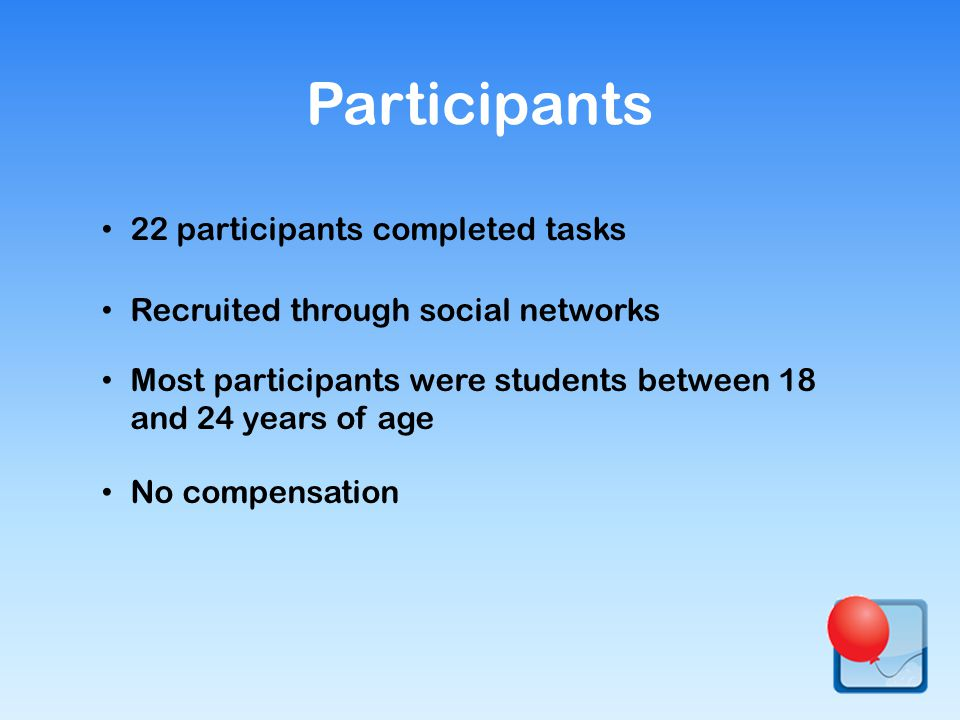 22 participants completed tasks Recruited through social networks Most participants were students between 18 and 24 years of age No compensation Participants