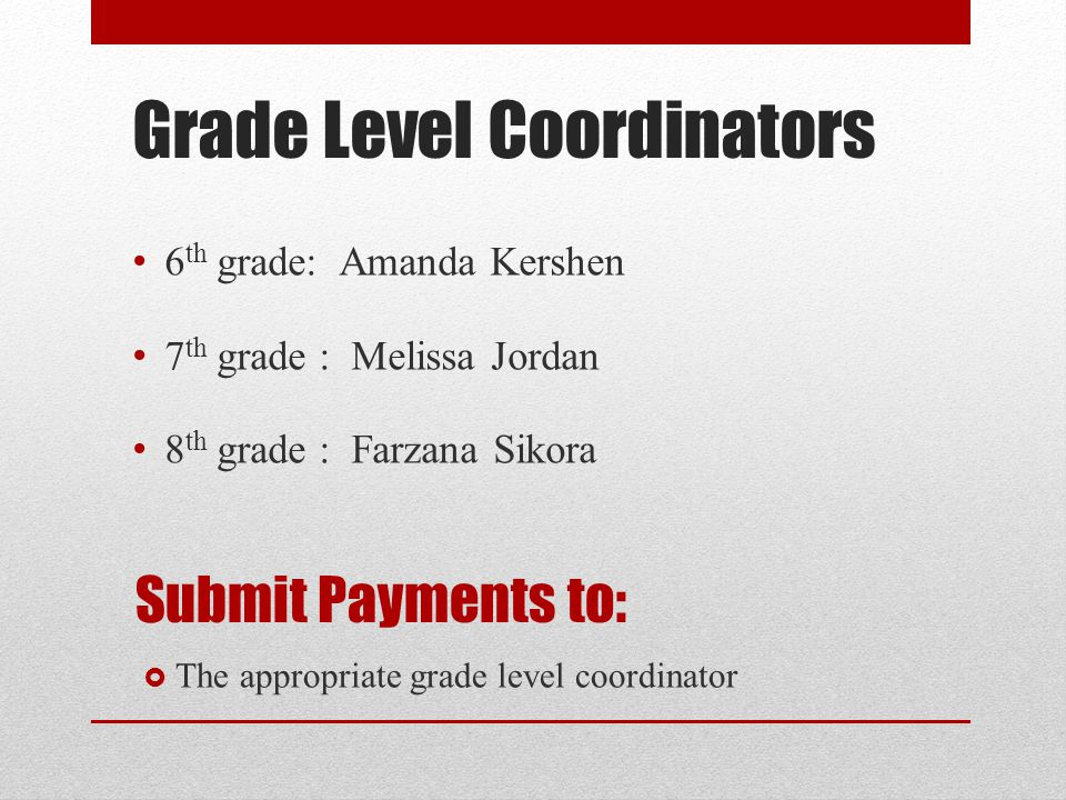 Grade Level Coordinators 6 th grade: Amanda Kershen 7 th grade : Melissa Jordan 8 th grade : Farzana Sikora Submit Payments to:  The appropriate grade level coordinator