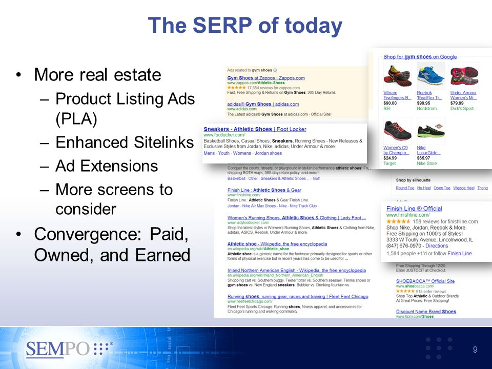 The SERP of today More real estate –Product Listing Ads (PLA) –Enhanced Sitelinks –Ad Extensions –More screens to consider Convergence: Paid, Owned, and Earned 9