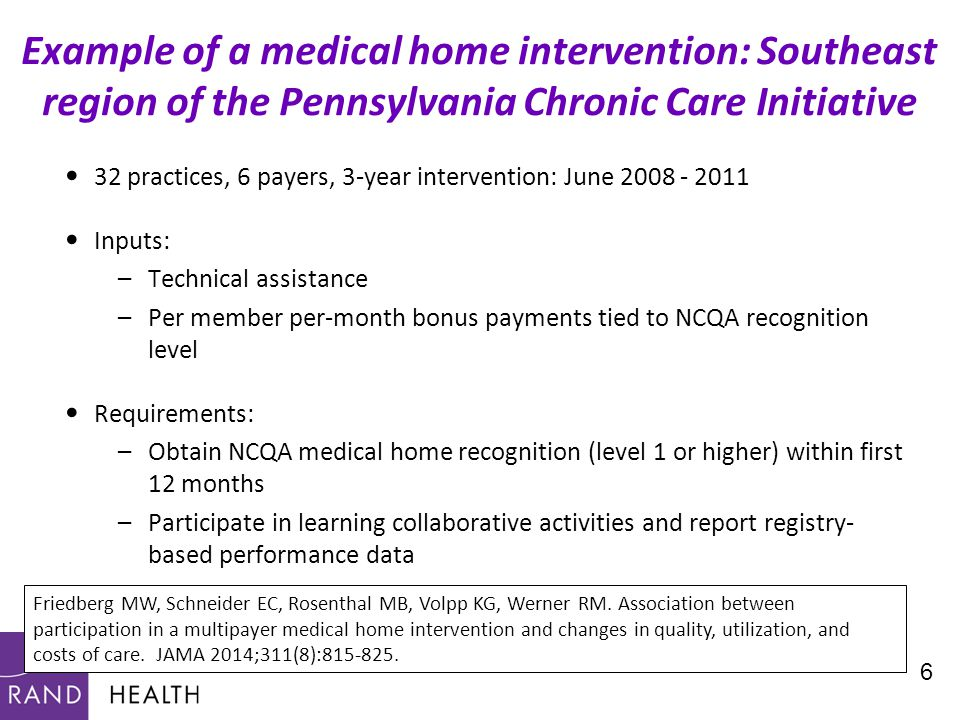 32 practices, 6 payers, 3-year intervention: June 2008 - 2011 Inputs: –Technical assistance –Per member per-month bonus payments tied to NCQA recognition level Requirements: –Obtain NCQA medical home recognition (level 1 or higher) within first 12 months –Participate in learning collaborative activities and report registry- based performance data 6 Example of a medical home intervention: Southeast region of the Pennsylvania Chronic Care Initiative Friedberg MW, Schneider EC, Rosenthal MB, Volpp KG, Werner RM.