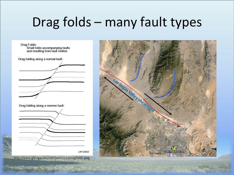 Drag folds – many fault types http://www.gly.uga.edu/railsback/1121DragFolds.jpeg Las Vegas Valley shearzone