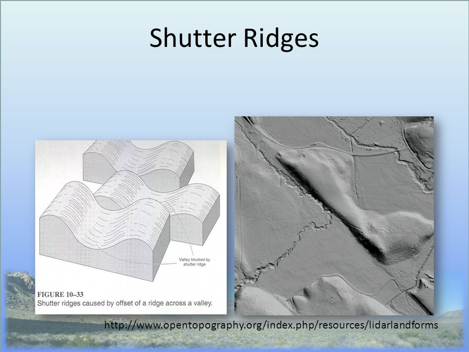 Shutter Ridges http://www.opentopography.org/index.php/resources/lidarlandforms