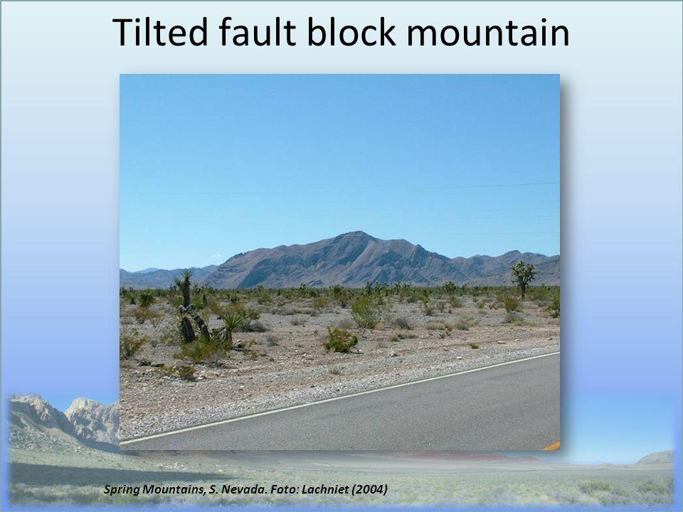 Tilted fault block mountain Spring Mountains, S. Nevada. Foto: Lachniet (2004)