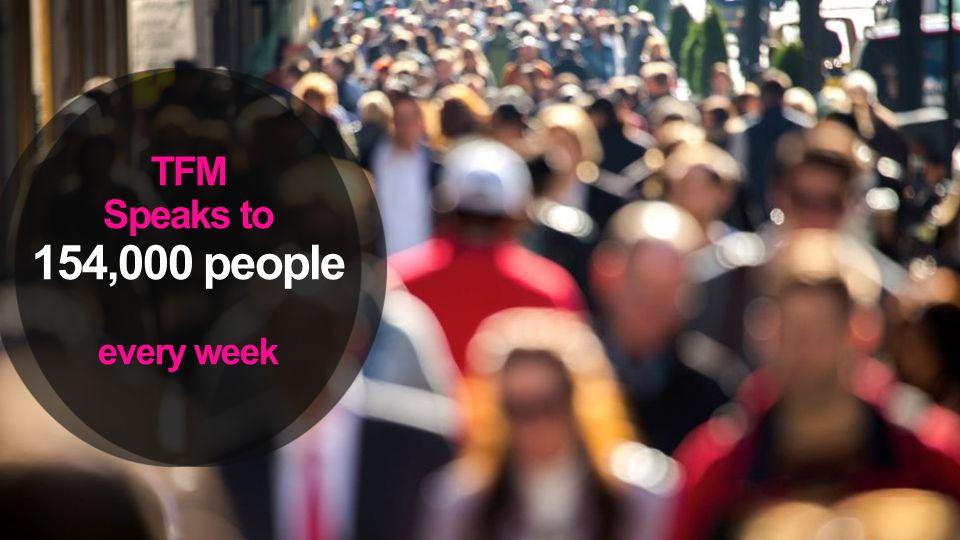 TFM Speaks to 154,000 people every week