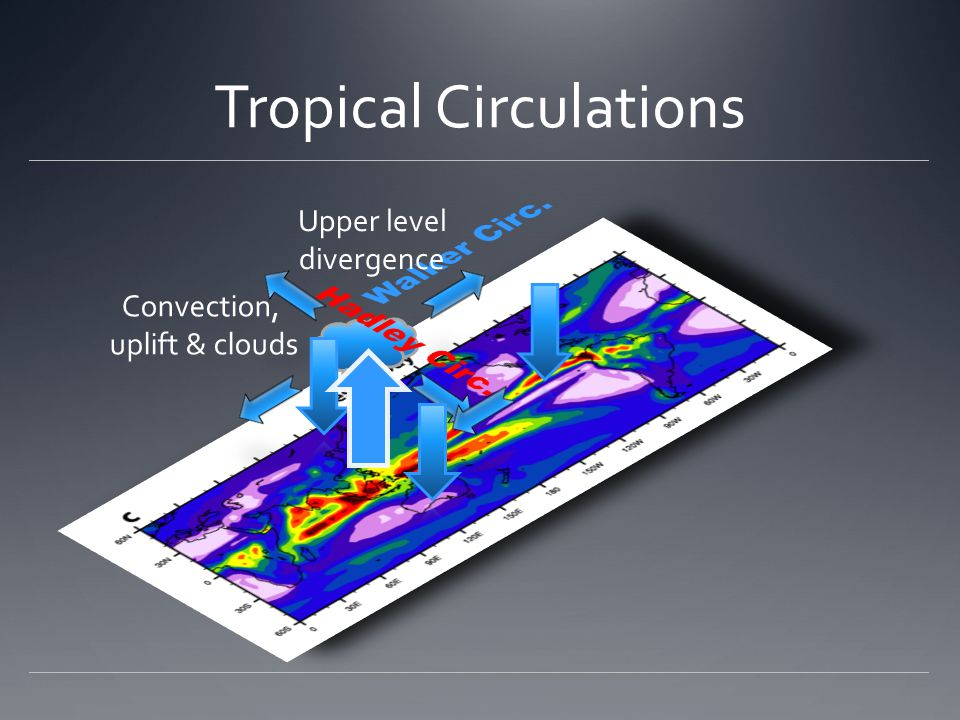 Tropical Circulations Convection, uplift & clouds Upper level divergence