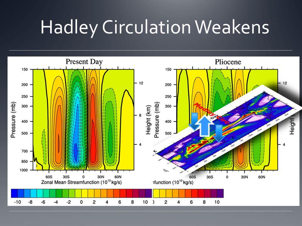 Hadley Circulation Weakens
