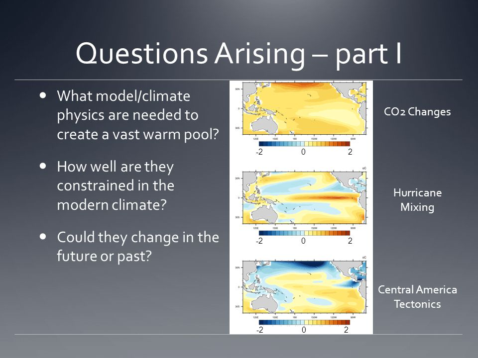 Questions Arising – part I What model/climate physics are needed to create a vast warm pool.