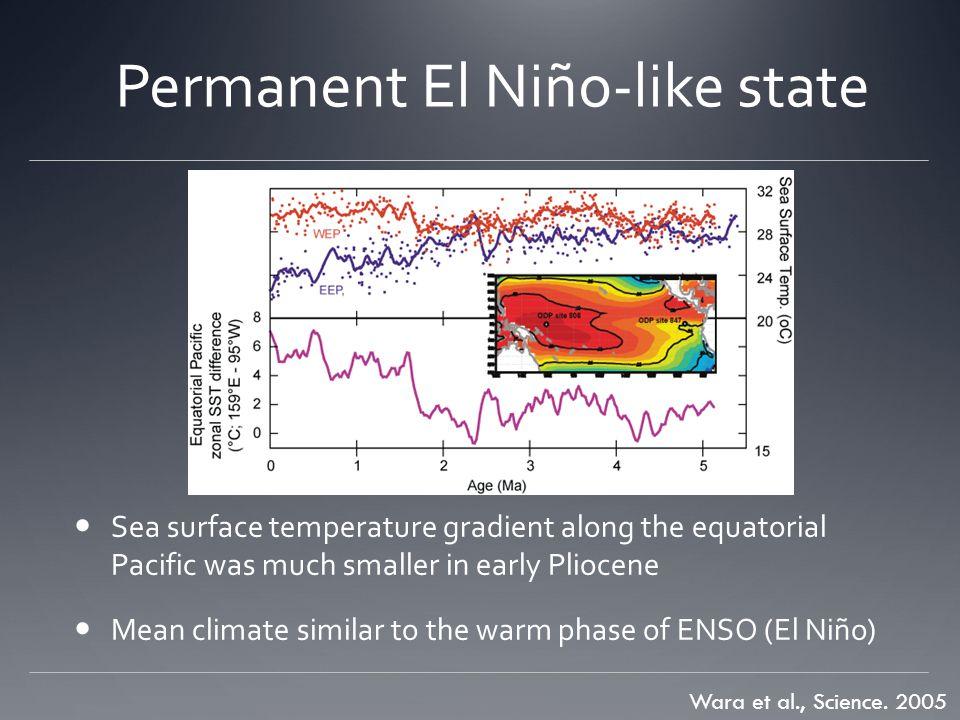 Permanent El Niño-like state Wara et al., Science.
