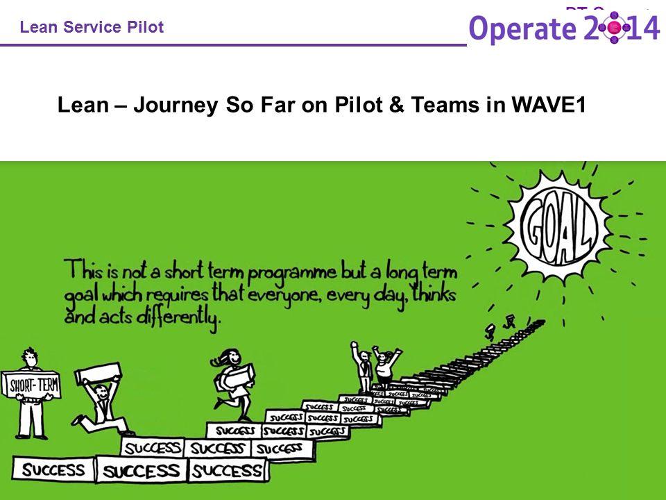 1 Lean Service Pilot Lean – Journey So Far on Pilot & Teams in WAVE1