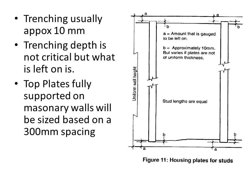 Trenching usually appox 10 mm Trenching depth is not critical but what is left on is. Top Plates fully supported on masonary walls will be sized based