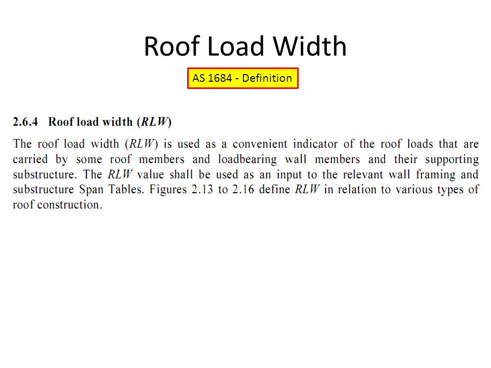 Roof Load Width AS 1684 - Definition