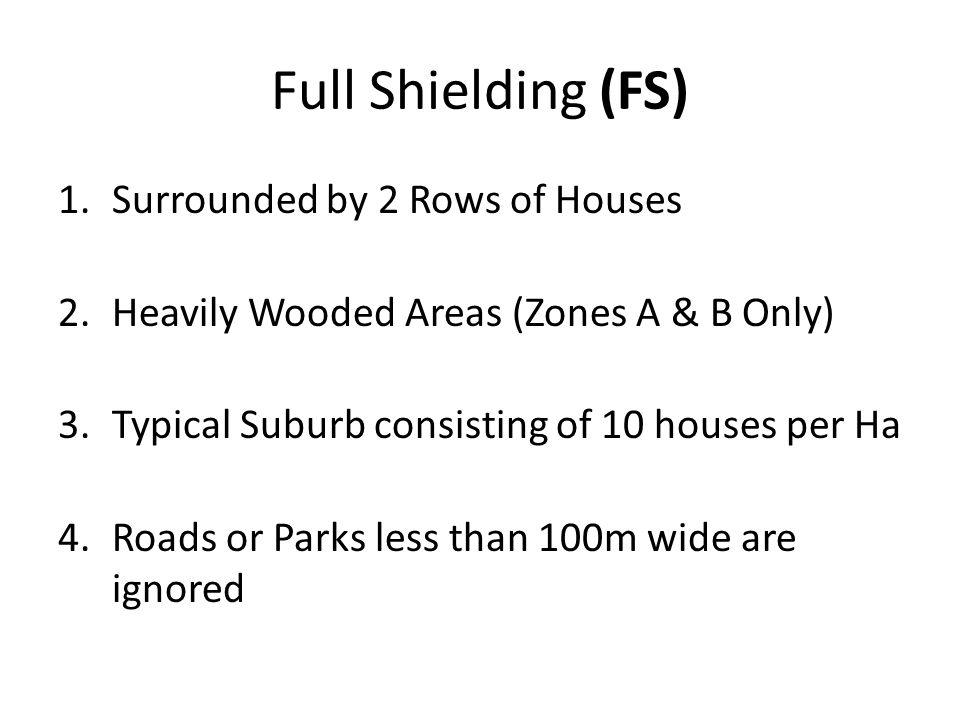 Full Shielding (FS) 1.Surrounded by 2 Rows of Houses 2.Heavily Wooded Areas (Zones A & B Only) 3.Typical Suburb consisting of 10 houses per Ha 4.Roads