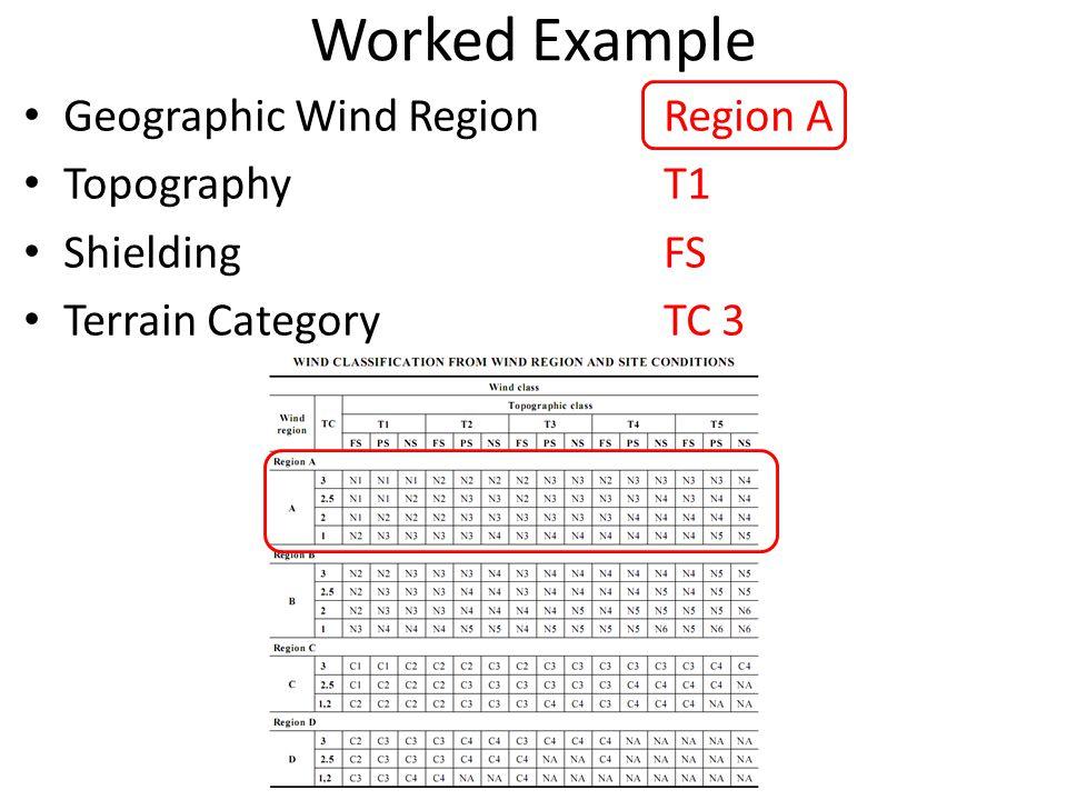 Worked Example Geographic Wind RegionRegion A TopographyT1 ShieldingFS Terrain Category TC 3