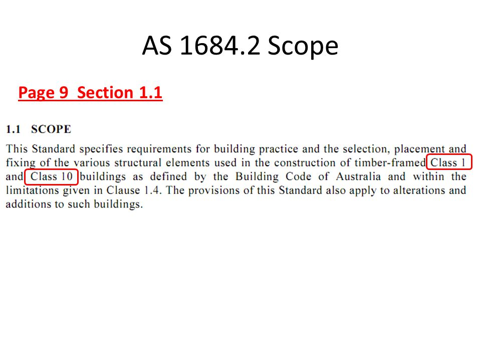 AS 1684.2 Scope Page 9 Section 1.1 This means that this standard only applies the Residential Buildings (Class 1) or Garages & Carports (Class 10).