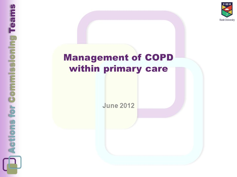 Actions for Commissioning Teams Management of COPD within primary care June 2012