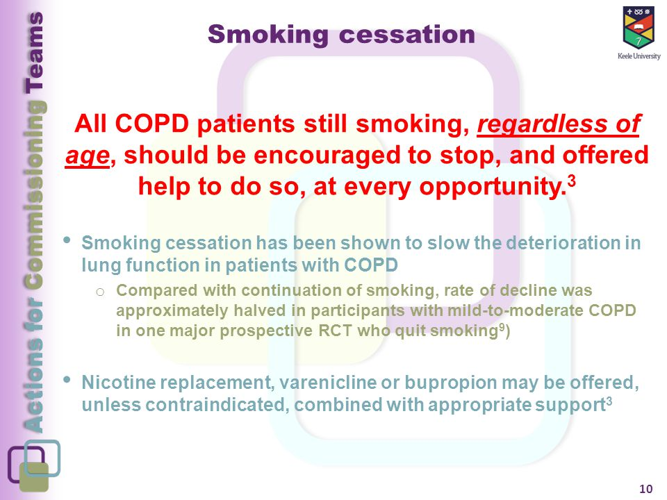Actions for Commissioning Teams Smoking cessation All COPD patients still smoking, regardless of age, should be encouraged to stop, and offered help to do so, at every opportunity.
