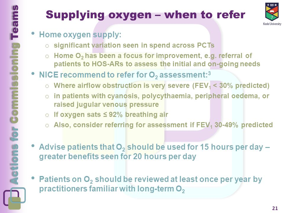 Actions for Commissioning Teams Supplying oxygen – when to refer Home oxygen supply: o significant variation seen in spend across PCTs o Home O 2 has been a focus for improvement, e.g.