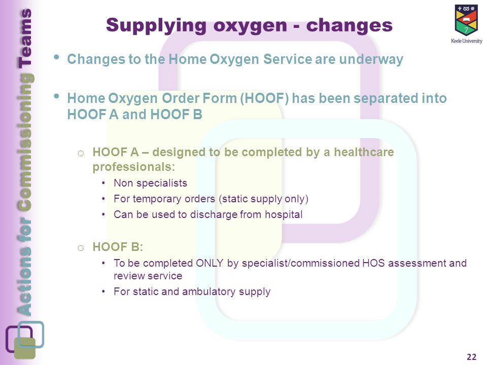 Actions for Commissioning Teams Supplying oxygen - changes Changes to the Home Oxygen Service are underway Home Oxygen Order Form (HOOF) has been separated into HOOF A and HOOF B o HOOF A – designed to be completed by a healthcare professionals: Non specialists For temporary orders (static supply only) Can be used to discharge from hospital o HOOF B: To be completed ONLY by specialist/commissioned HOS assessment and review service For static and ambulatory supply 22