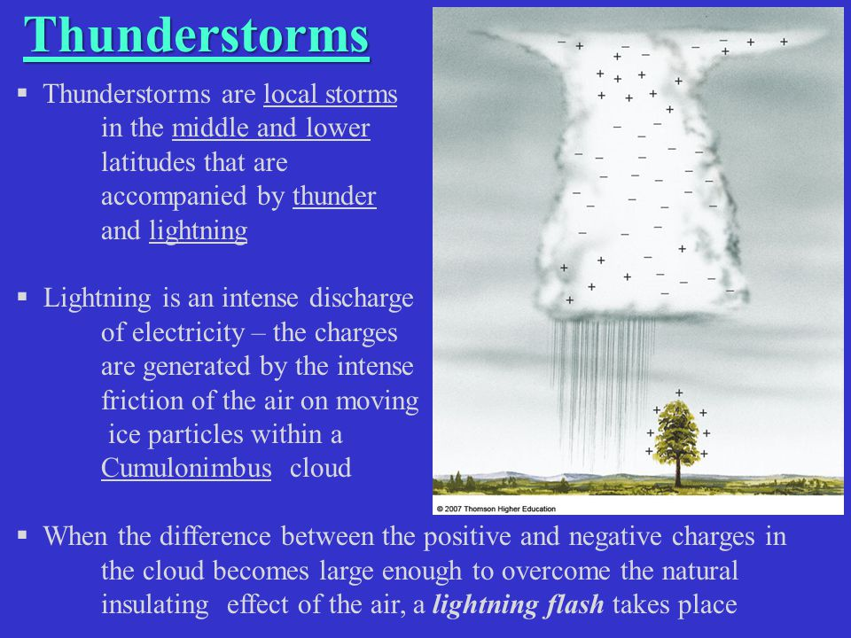 Thunderstorms  Thunderstorms are local storms in the middle and lower latitudes that are accompanied by thunder and lightning  Lightning is an inten